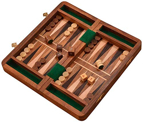 BEST Chess Two in One Fordable Wooden Backgammon Game Set, Classic Board Game Case (Brown) 10x10 Inches