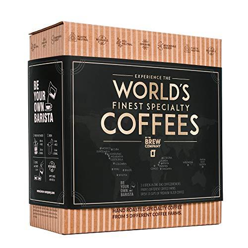 Caja Regalo de Cafe Especialidad apta Para Hombre y Mujer - Paquete de Degustación Gourmet con 5 de Los Mejores Cafés Molidos Orgánicos Del Mundo | Para Prepararlo y Disfrutar Donde y Cuando Quiera
