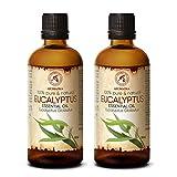 Huile Essentielle Eucalyptus 200ml (2 x 100ml) - Eucalyptus Globulus - Huile Essentielle 100% Naturelle & Pur - pour Aromathérapie - Sauna - Bain Aromatique - Diffuseur
