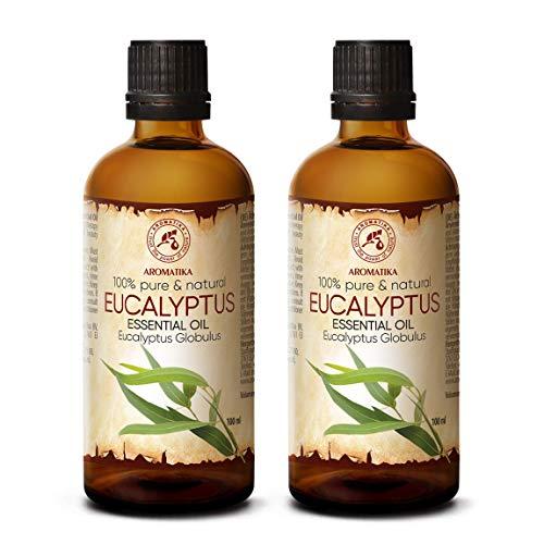 Aceite Esencial de Eucalipto 200ml - Eucalyptus Globulus - 100% Puro y Natural - Aceites de Eucalipto 2x100ml - Mejor para la Belleza - Sauna - Aromaterapia - Inhalación - Difusor de Aroma