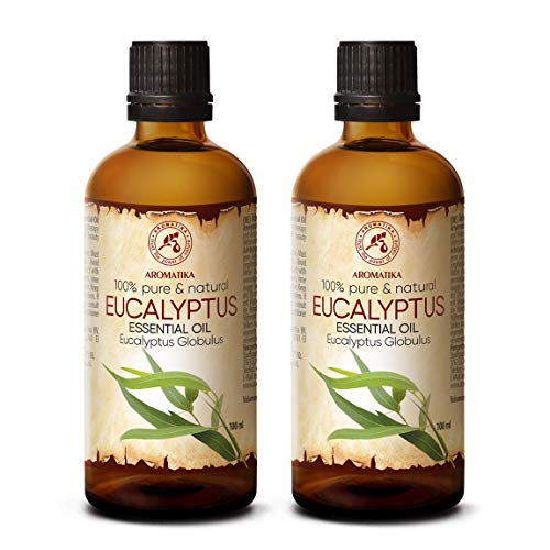 Aceite Esencial de Eucalipto 200ml - Eucalyptus Globulus - 100{2d644a54776246bef8c3ec6a05ce754025204cde8a8c9a413a20d2e7decd8a90} Puro y Natural - Aceites de Eucalipto 2x100ml - Mejor para la Belleza - Sauna - Aromaterapia - Inhalación - Difusor de Aroma