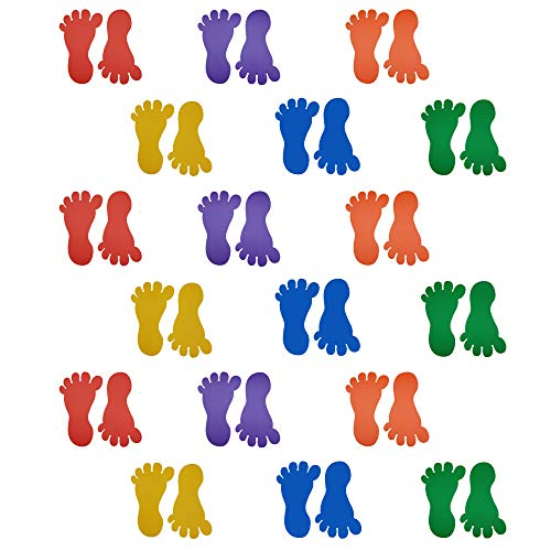36 Prints 18 Pairs Baby Children Kids Size Footprint Stickers Decals Teacher Created Resources for Floor Wall Stairs to Guide Directions, 6 Different Colors