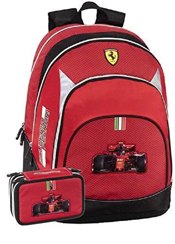 Panini spa Schoolpack Zaino Scuola Ferrari Organizzato 40x32x20 cm + Astuccio 3 Zip Completo