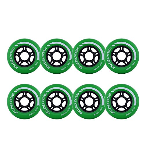 Rollerex VXT500 Inline Skate Wheels (8-Pack) (Turf Green, 80mm)