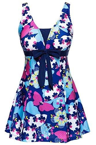 Ecupper Damen Badekleid Blumen Muster Gepolstert Badeanzug mit Shorts Bademode Große Größen Dunkel Blau 3XL
