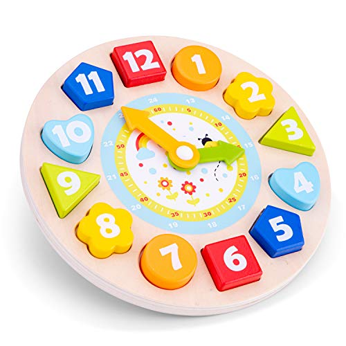 New Classic Toys Wooden Multi Clock Puzzle for Toddlers 2 Years and Up Educational Toys and Color Perception Toy for Preschool Age Toddlers Boys Girls