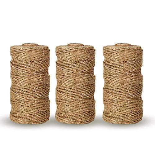 G2PLUS - Cordes de jute naturelles, corde de boulanger de 99 mètres, cordes d'art et des travaux manuels pour étiquettes vintage, utilisation en jardinage 3 PCS