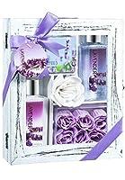Lavender Spa Bath Gift Set in Distress White Wood Curio by Freida Joe