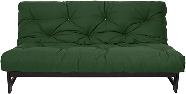 Mozaic Full Size 10 Inch Cotton Twill Futon Mattress Hunter Green