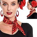 Pañuelo Lunares Flamenco Sevillanas【Pack 6 Unidades】 Rojo Lunares Negros   Accesorio Feria Abril Carnaval Disfraces