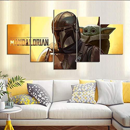 Leinwand-Kunstdruck, ungerahmt, 5-teilig, Star Wars The Mandalorian Baby Yoda Wandbild für Zuhause und Wohnzimmer, Dekoration, Filmposter, Unframed Size 2