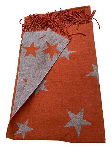 Bufanda de color oxidado con diseño de estrellas supersuave, color rojo y gris, con una bonita borla que se desplaza suave y cálida, elegante y de alta calidad.