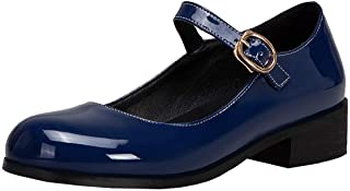 MAVMAX Women's Mary Jane Ankle Strap Flat Patent Leather Lolita Pumps