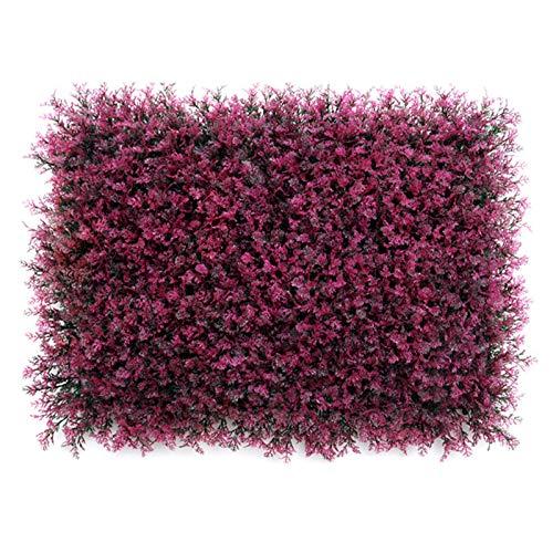 KTYXGKL Pared de planta de simulación, enrejado de seto verde artificial, panel de alfombra de cerca falsa de jardín de plástico, telón de fondo de cerca de follaje falso fresco (Color : Fennel red)