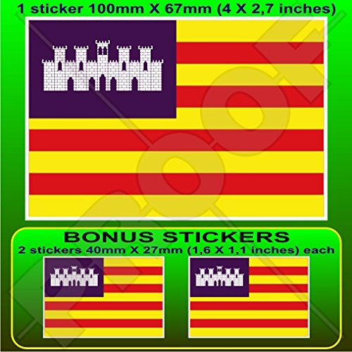 BALEARES ÎLES Drapeau ESPAGNE Illes Balears, Islas Baleares Espagnol, 100mm Vinyle Autocollant, x1+2 BONUS Stickers