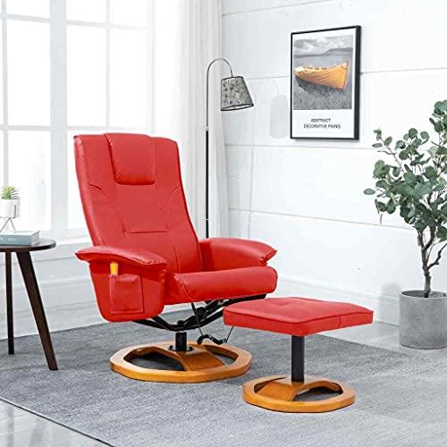LCSA Massagesessel mit Fußhocker Relaxsessel Fernsehsessel mehrere Auswahl (Color : Rot)