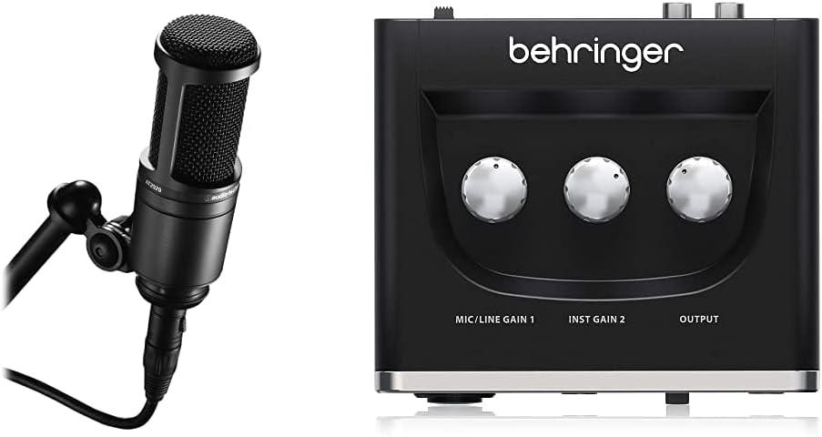 Audio-Technica At2020 Micrófono De Condensador, Color Negro + Behringer U-Phoria Um2 Equipos De Música Adicionales Negro