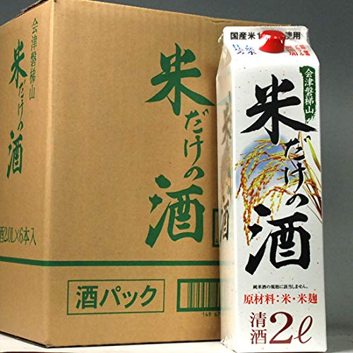 白河銘醸 会津磐梯山 米だけの酒 2Lパック×6本