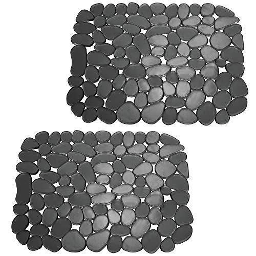 mDesign 2er-Set Spülbeckeneinlage zum Zuschneiden – praktische Spülbeckenmatte aus PVC für die Küche – Spülbecken Schutzmatte für Geschirr und Becken – Kieselsteinmuster in schwarz