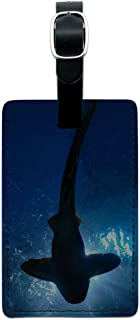 بطاقة تعريف الأمتعة من Graphics & More Shark Scuba Diving Leather Luggage ID Bag محمولة, , ألوان متعددة - LEATHER.TAG.RECT...