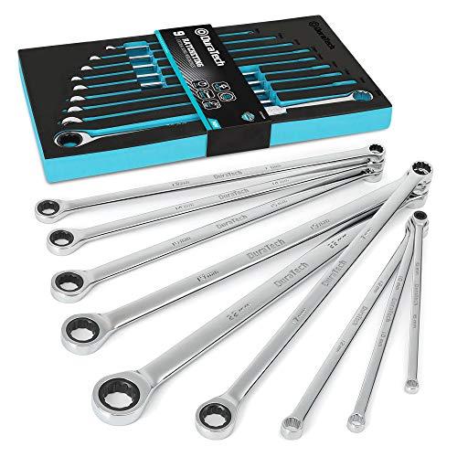 DURATECH Juego de llaves de trinquete extralargas, métricas, 9 piezas, 8-22 mm, acero al cromo vanadio, con organizador de herramientas de espuma EVA