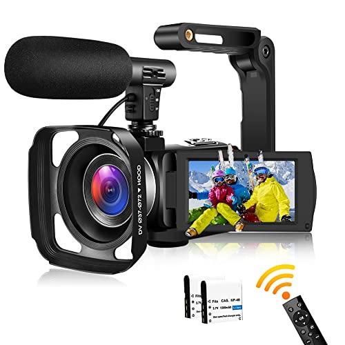 Videokamera Camcorder Full HD 2.7K 30FPS 24 MP Camcorder HD IR Nachtsicht 3,0 Zoll IPS-Bildschirm 16X Zoom Videokamera HD mit Fernbedienung,externem Mikrofon und Gegenlichtblende