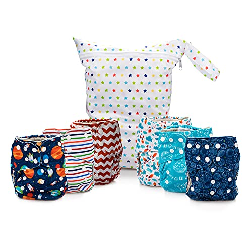 Simple Being Reusable Cloth Diapers, Double Gusset, One Size Adjustable, Washable Soft Absorbent, Waterproof Cover, Eco-Friendly Unisex Baby Girl Boy, six 4-Layers Microfiber Inserts (Space)