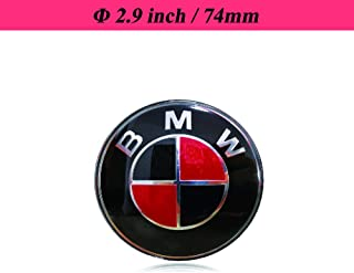 TaTyee BMW Emblems Hood and Trunk, 74mm BMW Emblem Logo Replacement fit for All Models BMW E30 E36 E46 E34 E39 E60 E65 E38 X3 X5 X6 3 4 5 6 7 8 -Black and Red