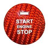 CLEIO Pegatina de Inicio del Motor del Motor de la Fibra de Carbono Pegatina Interior Ajuste para Mazda AXELA ATENZA CX-3 CX-4 CX-5 CX-8 MX-5 Accesorios (Color : Red)