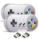 miadore - Controlador USB inalámbrico para emulador SNES, 2,4 G, USB, mando para videojuegos, palanca de mando, SNES, controlador de juego para Windows PC Mac y RetroPie, 2 unidades