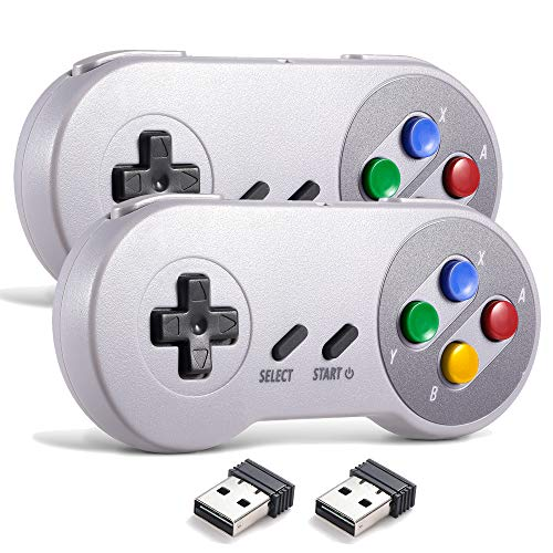 miadore Wireless USB Controller für SNES Emulator, 2 Pack 2.4G USB Gamepad Joystick SNES Game Controller für Windows PC Mac und Retropie