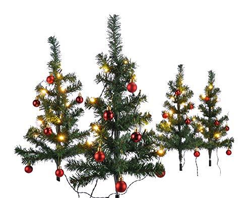 HI 4er Set Mini Weihnachtsbäume beleuchtet mit 40 warmweißen LEDs dekoriert mit 24 Baumkugeln grün künstliche Weihnachtsbäume für Innen- und Außengebrauch Tannenbäume Christbaum 63x49 cm