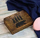 Ebros Wildlife Rustic Black Bear Roaming Pine Trees Forest Silhouette Bathroom Accent Resin Figurine Accessories Western Country Cabin Lodge Decorative (Bar Soap Dish)