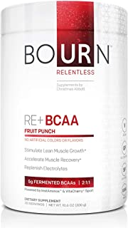 Bourn Relentless RE+ BCAA Natural Fruit Punch (30 Servings) with 5g of Fermented Branched Chain Amino Acids, no Artificial...