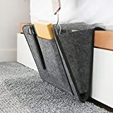 DOURR Felt Bedside Caddy, Bedside Pocket Caddy Bed Organizer Storage Inside with 5 Pockets and Charging Cable Hole for Organizing Tablet Magazine Phone Small Things Holder (Black)