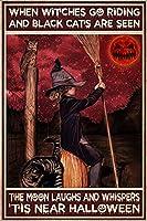 黒猫と乗りに行く魔女のポスターが月の笑顔とささやきを見られたとき、これはハロウィンのポスター魔術金属錫マークアンティークキッチン8×12インチ魔女のポスターに近い