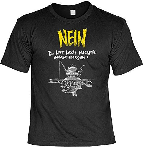 Lustiges T-Shirt für Angler Geschenk Angeln mit Gratis Urkunde Nein Es hat noch Nichts angebissen! Tolles Angler T-Shirt für den Angler Fan