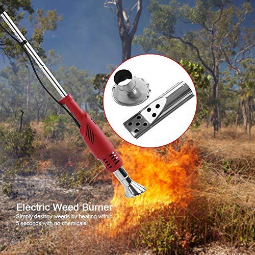 Elektrischer Unkrautvernichter, 2 in 1 Brenner für Unkraut mit 2 Düsen, Temperatur 60 – 650 °C, ohne chemische Produkte, umweltfreundlich, zum Entfernen von Malerarbeiten