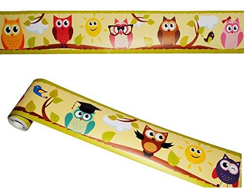 alles-meine.de GmbH Wandbordüre - selbstklebend -  lustige Eulen auf AST  - 5 m - Wandsticker / Wandtattoo - Bordüre Aufkleber Kinderzimmer - Eule Vögel Tiere Borte - Wandborte..