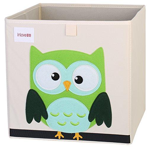 Cartoon Aufbewahrungswürfel Leinwand faltbare Spielzeug Aufbewahrungsbox für Kinder von ELLEMOI (Eule)