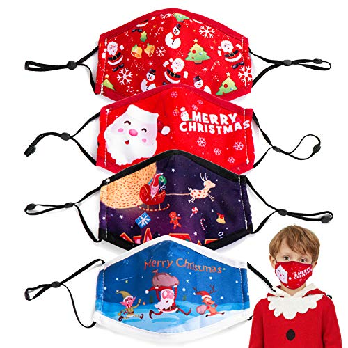 Neovivi 4pcs Merry Christmas Sport Mask for Kids Washable Christmas Print Cotton Mask Reusable Cycling Face Mask Children School Dustproof Windproof Face Mask for Girls Boys