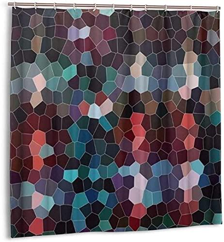 Cortina de Ducha con patrón de Mosaico de Azulejos Coloridos, Cortina de baño de Tela Impermeable para decoración de baño con ganchos180 * 180cm oein
