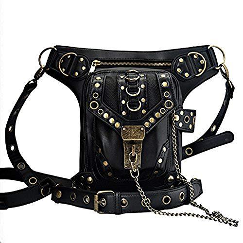 UIYTR Steampunk Retro Motorcycle Bag Lady Bag Retro Rock Gothic Goth Shoulder Waist Bag Drop Leg Bag for Women (K-Black)