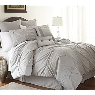 Ella Collection| 8-Piece Pin tuck Comforter Set, Ultra-Soft & Hypoallergenic Complete Bedding Set by Amrapur Overseas