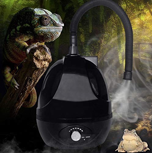 Amphibian Insect & Reptile Tank, Mister/Fogger/Humidifier - Large Tank - Adjustable with Flexible Hose - for Reptile Terrarium/Tank/Aquarium & Hide/Cave