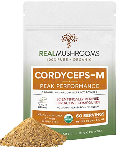 Real Mushrooms Cordyceps Peak Performance Supplement for Energy, Stamina & Endurance | Non-GMO, Vegan, Organic Cordyceps Powder| 60 Servings
