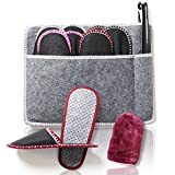 Amazy Zapatillas Casa (8 Pares) Incl. Bolsa + Calzador + Paño Limpieza | Zapatillas de casa para mujer y hombre ideales para invitados | Pantuflas antideslizantes de fieltro – (Tallas 38-48)