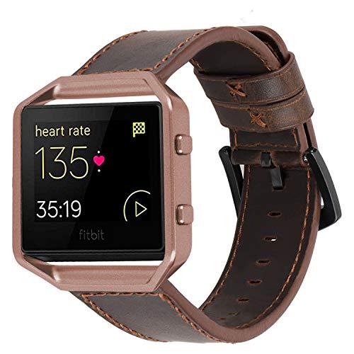 iBazal Lederarmband Kompatibel mit Blaze Armband Leder Uhrenarmband mit Metallrahmen Armbänder Lederband Ersatzband Uhrarmband Ersatzarmband Watchband Herren Uhr - Kaffee/Kaffee