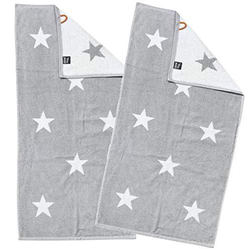 DONE Handtücher Daily-Shapes-Stars im Doppelpack - Frottee-Tuch mit Sternen - Schwarz, Grau/Weiß - 100% Baumwolle - 2 Stück, Farbe:Silver/BrightWhite