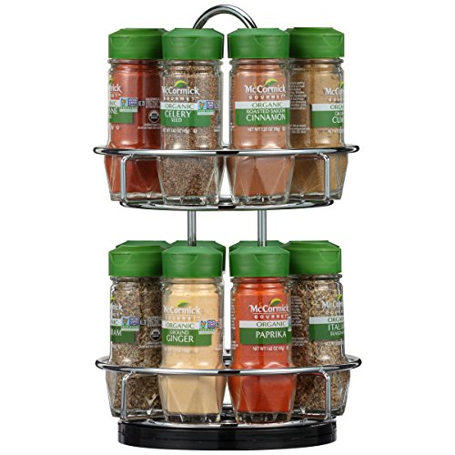 McCormick Gourmet Two Tier Chrome 16 Piece Organic Spice Rack with Countertop Stand, 15.41 oz